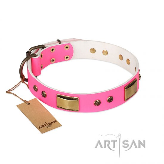 """Pink Daydream"" FDT Artisan Pink Leather Bulldog Collar with Old Bronze Look Plates and Studs"