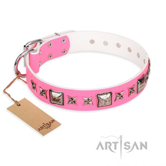 """Lady in Pink"" FDT Artisan Extravagant Leather Bulldog Collar with Studs"