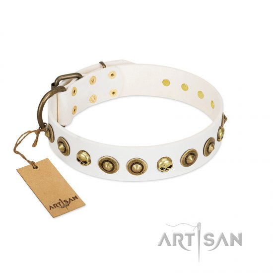 """Wondrous Venture"" FDT Artisan White Leather Bulldog Collar with Skulls and Brooches"
