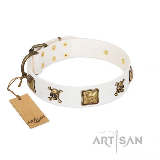"""Glo Up"" FDT Artisan White Leather Bulldog Collar with Skulls and Crossbones Combined with Squares"