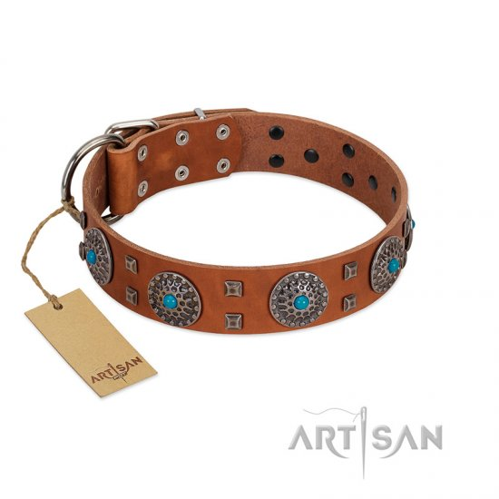 """Blue Sands"" FDT Artisan Tan Leather Bulldog Collar with Silver-like Studs and Round Conchos with Stones"