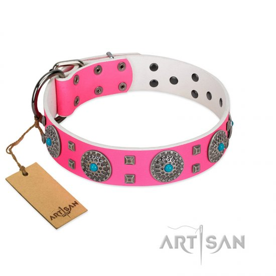 """Pink Delight"" FDT Artisan Pink Leather Bulldog Collar for Everyday Walking"