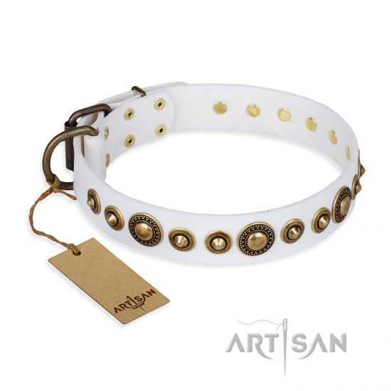 """Swirl of Fashion"" FDT Artisan Delicate White Leather Bulldog Collar with Stunning Bronze-Plated Round Studs"