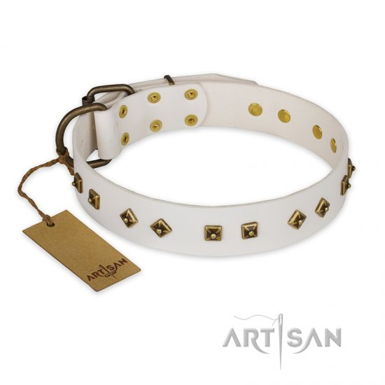 """Snow Cloud"" FDT Artisan White Leather Bulldog Collar with Square and Rhomb Studs"