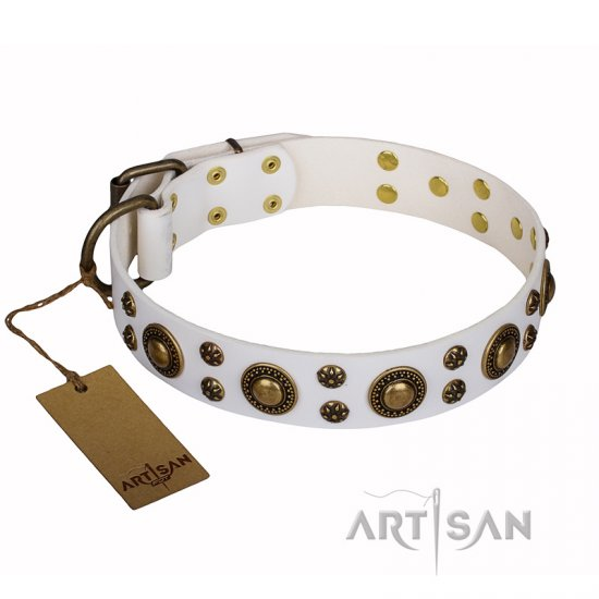 'White Gentle Feather' FDT Artisan Bulldog Genuine Leather Collar with Old-bronze Plated Decorations