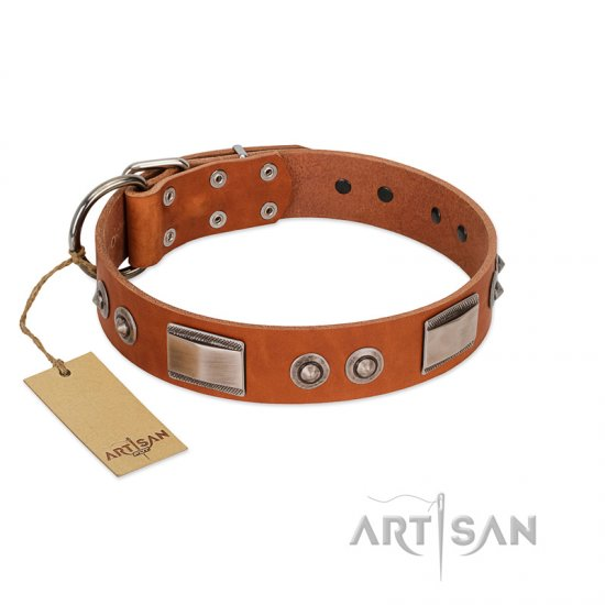"""Pawsy Glossy"" FDT Artisan Exclusive Tan Leather Bulldog Collar 1 1/2 inch (40 mm) wide"