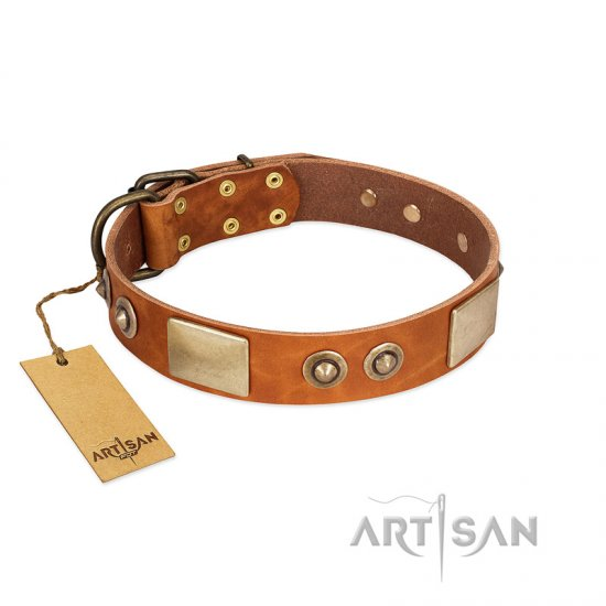 """Perfect Blend"" FDT Artisan Tan Leather Bulldog Collar 1 1/2 inch (40 mm) wide"