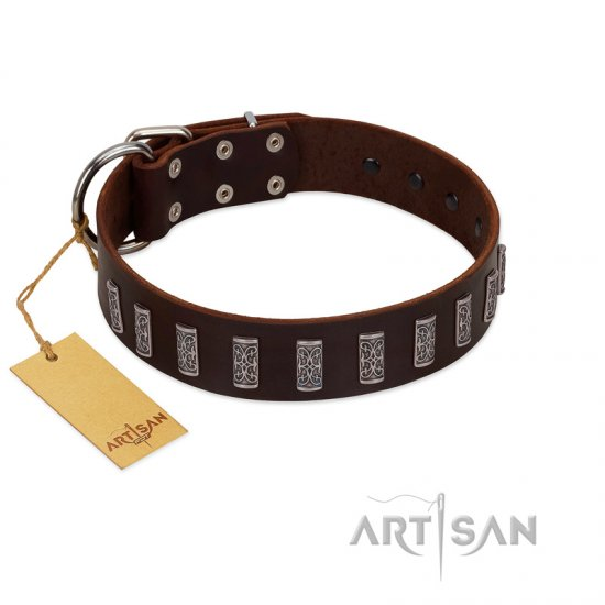 """Brown Lace"" Handmade FDT Artisan Brown Leather Bulldog Collar for Everyday Walks"