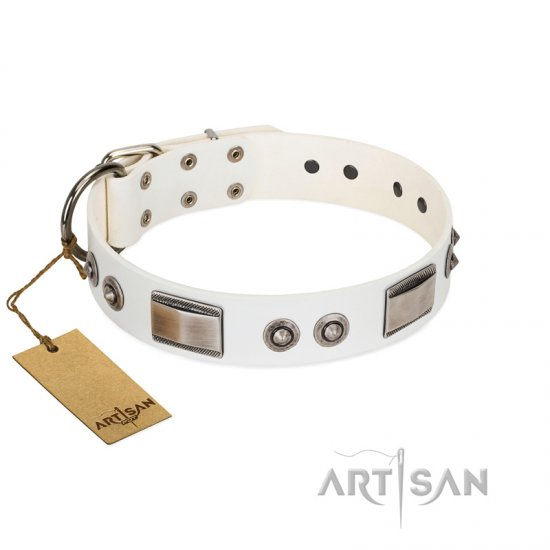 """Good-Luck Piece"" FDT Artisan White Bulldog Collar Adorned with Chrome Plated Studs and Plates"