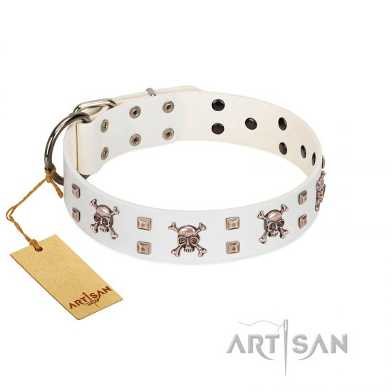 """Skull Island"" Premium Quality FDT Artisan White Designer Bulldog Collar with Crossbones and Studs"
