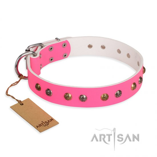 """Sheer love"" Pink Leather FDT Artisan Bulldog Collar with Old-look Hemisphere Studs"