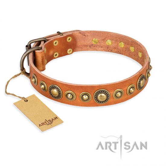 """Feast of Luxury"" FDT Artisan Tan Leather Bulldog Collar with Old Bronze Look Circles"