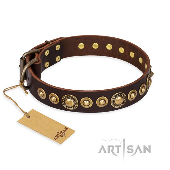 """Ancient Warrior"" FDT Artisan Fancy Leather Bulldog Collar with Old-Bronze Plated Decorations"