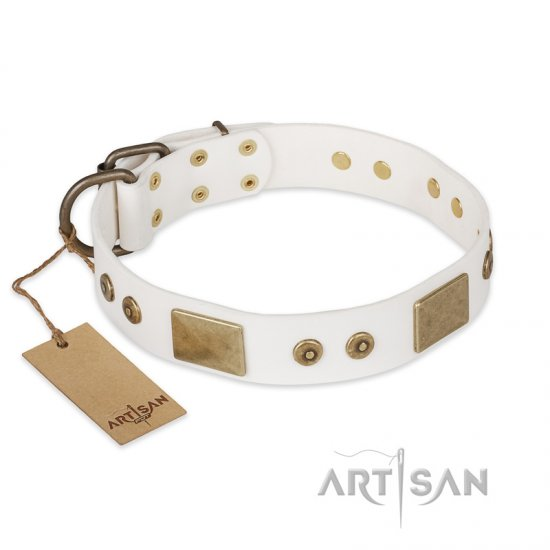 """Unforgettable Impress"" FDT Artisan Decorated Leather Bulldog Collar with Decorations"