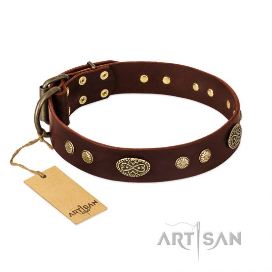 """Old-fashioned Glamor"" FDT Artisan Brown Leather Bulldog Collar with Old Bronze Look Plates and Circles"