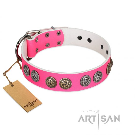 """Pink Butterfly"" Designer FDT Artisan Pink Leather Bulldog Collar with Round Studs"