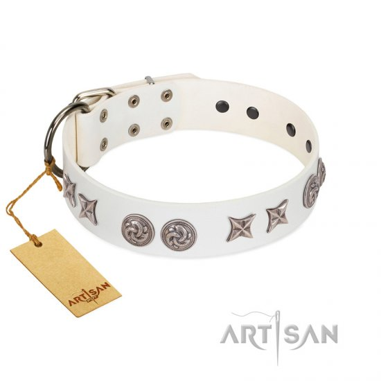 """Galaxy Hunter"" FDT Artisan White Leather Bulldog Collar with Engraved Brooches and Stars"