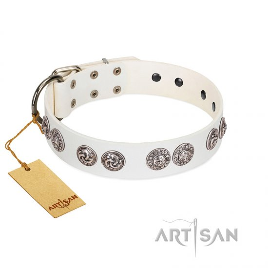 """Eye Candy"" Appealing FDT Artisan White Leather Bulldog Collar with Chrome Plated Medallions"