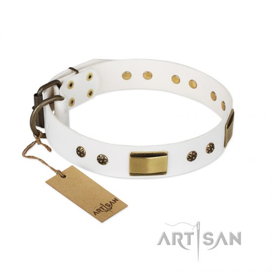 """Precious Necklace"" FDT Artisan White Leather Bulldog Collar with Old Bronze Look Plates and Studs"