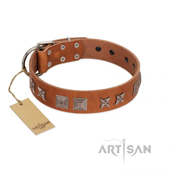 """Antique Figures"" FDT Artisan Tan Leather Bulldog Collar with Silver-like Engraved Plates"