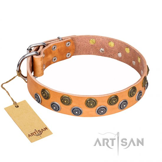 """Precious Sparkle"" Wide FDT Artisan Studded Leather Bulldog Collar - 1 1/2 inch (40 mm) wide"