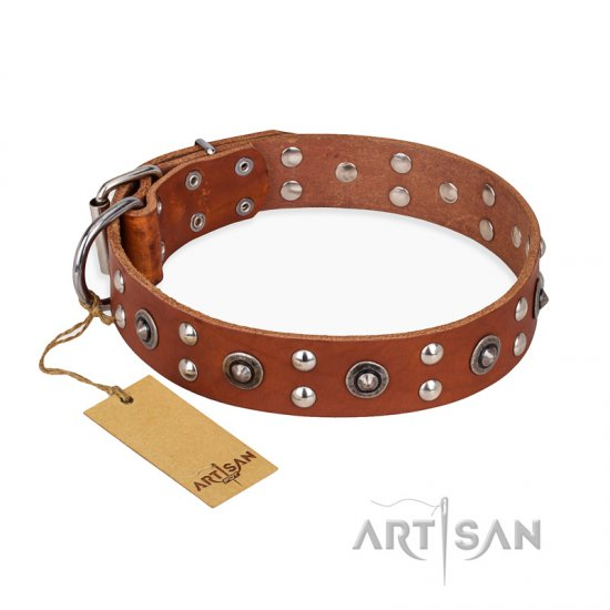 """Silver Elegance"" FDT Artisan Decorated Leather Bulldog Collar with Old Silver-Like Plated Studs and Cones"