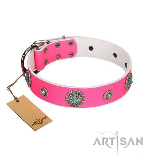 """Chili Mood"" Designer Handmade FDT Artisan Pink Leather Bulldog Collar"