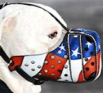 Hand painted Leather Muzzle for Alapaha Blood Bull Pride Muzzles