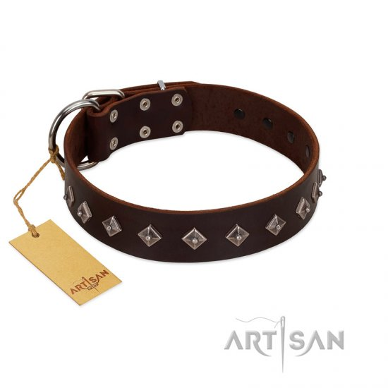 """Boundless Energy"" Premium Quality FDT Artisan Brown Designer Leather Bulldog Collar with Small Pyramids - Click Image to Close"