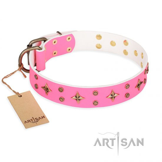 'Chi-Chi Pink Rose' FDT Artisan Leather Bulldog Collar with Decorations
