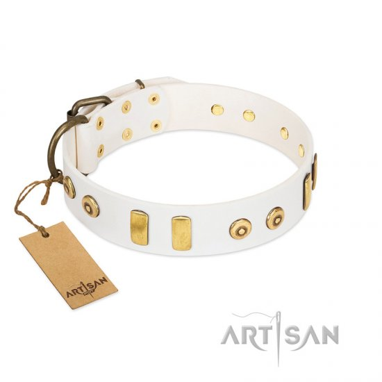 """Golden Union"" Elegant FDT Artisan White Leather Bulldog Collar with Old Bronze-like Dotted Studs and Tiles"