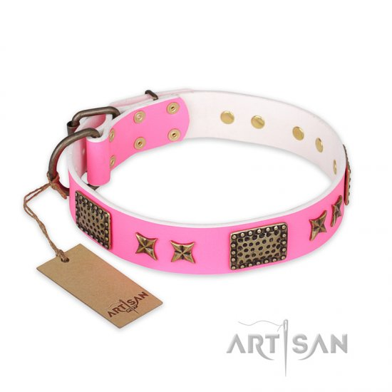 """Tender Pink"" FDT Artisan Leather Bulldog Collar with Old Bronze Look Stars and Plates"