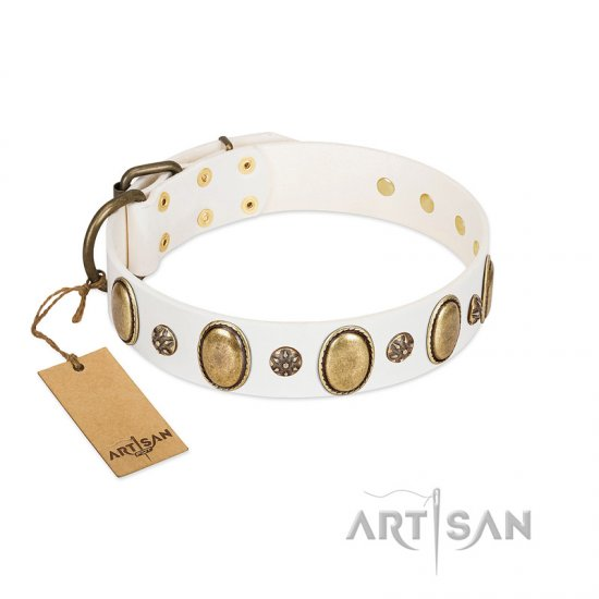 """Nifty Doodad"" FDT Artisan White Leather Bulldog Collar with Amazing Large Ovals and Small Studs"