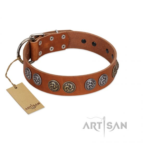 """Luxurious Life"" Premium Quality FDT Artisan Tan Leather Bulldog Collar with Round Adornments"
