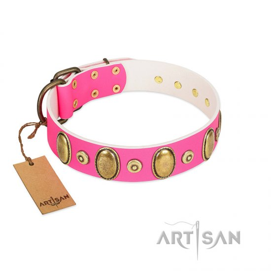 """Drawing Power"" FDT Artisan Pink Leather Bulldog Collar with Engraved Ovals and Dotted Studs"