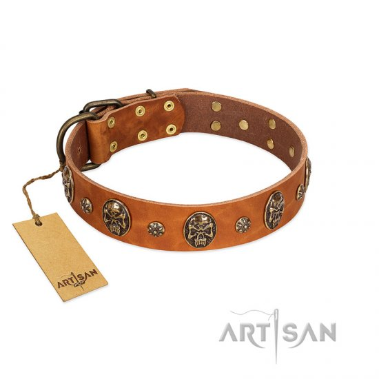 """Rockstar"" FDT Artisan Tan Leather Bulldog Collar with Engraved Studs and Medallions"