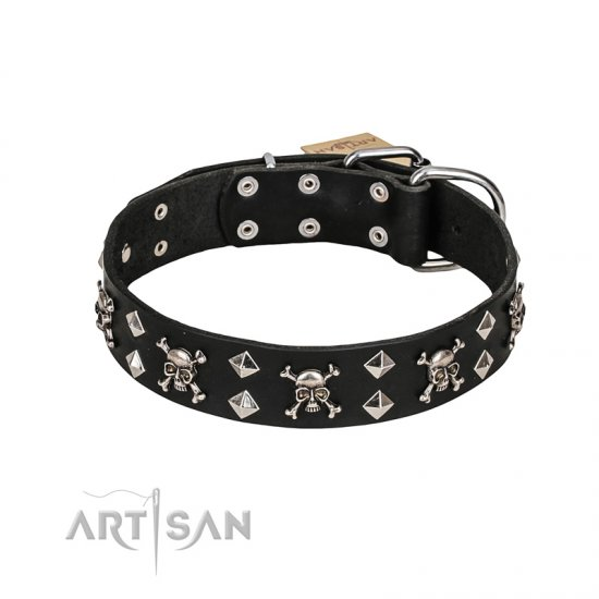 FDT Artisan 'Rock 'n' Roll Style' Leather Bulldog Collar with Skulls, Bones and Studs 1 1/2 inch (40 mm) wide