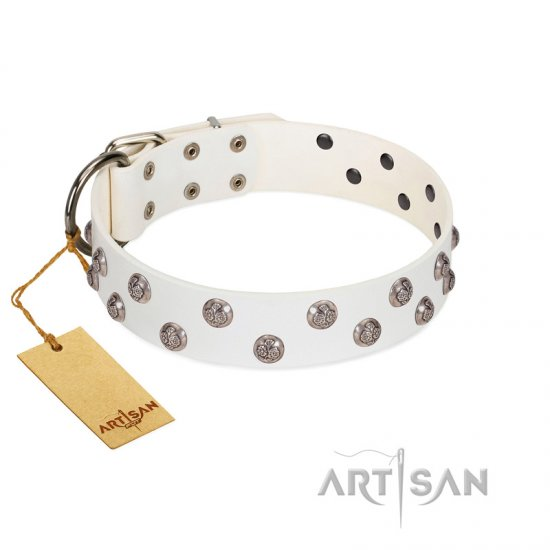 """Wild Flora"" FDT Artisan White Leather Bulldog Collar with Silver-like Engraved Studs"