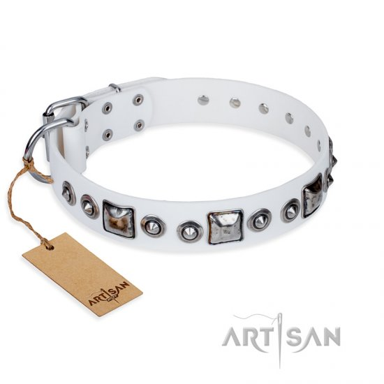 """Lustre of Fame"" FDT Artisan White Studded Leather Bulldog Collar"