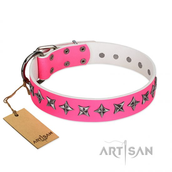 """Star Dreams"" FDT Artisan Pink Leather Bulldog Collar with Silver-like Stars"