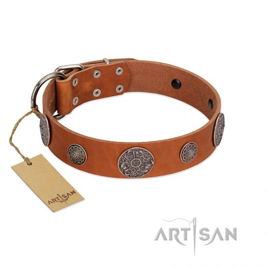 """Foxy Nature"" FDT Artisan Tan Leather Bulldog Collar with Chrome Plated Brooches"