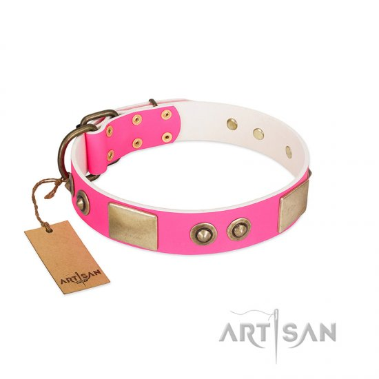 """Pink Splash"" FDT Artisan Soft Leather Bulldog Collar with Bronze-like Plates and Medallions"