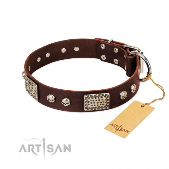 """Pirate Skull"" FDT Artisan Brown Leather Bulldog Collar with Old Silver Look Plates and Skulls"