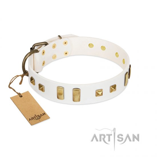 """Wintertide Mood"" FDT Artisan White Leather Bulldog Collar with Old Bronze-like Plates and Studs"