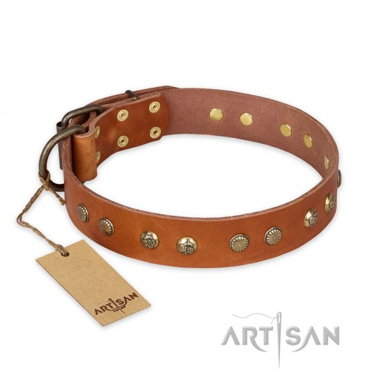 """Spring Flavor"" FDT Artisan Adorned Leather Bulldog Collar with Old Bronze-Plated Engraved Studs"