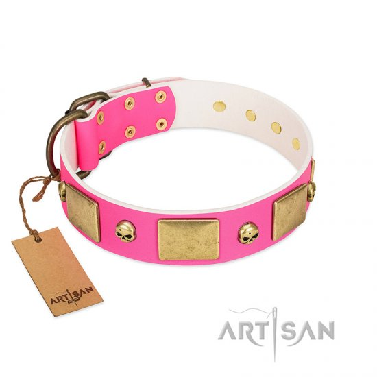 """Glammy Voyage"" FDT Artisan Pink Leather Bulldog Collar with Stylish Bronze-like Decorations"