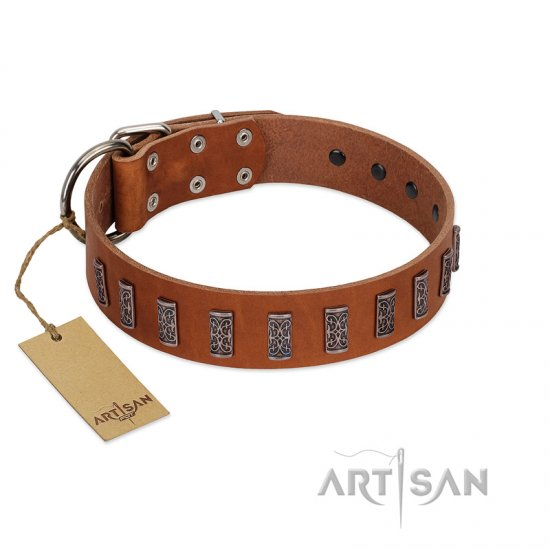 """Silver Century"" Fashionable FDT Artisan Tan Leather Bulldog Collar with Silver-Like Plates"
