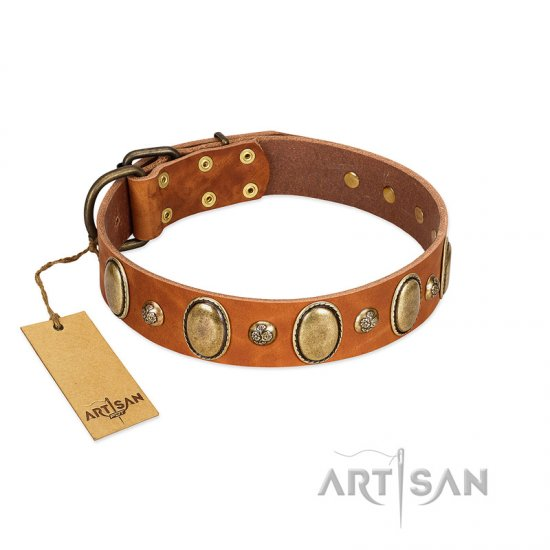 """Venus Breath"" FDT Artisan Tan Leather Bulldog Collar with Vintage Looking Oval and Round Studs"