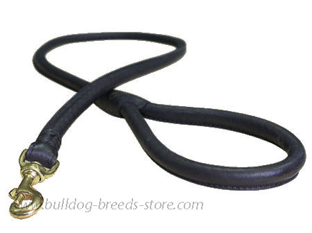 Matching Rolled Leather Dog Lead for Bulldogs