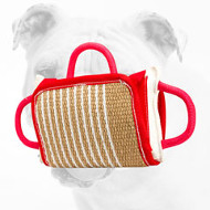 Bulldog Bite Pillow with Jute Cover